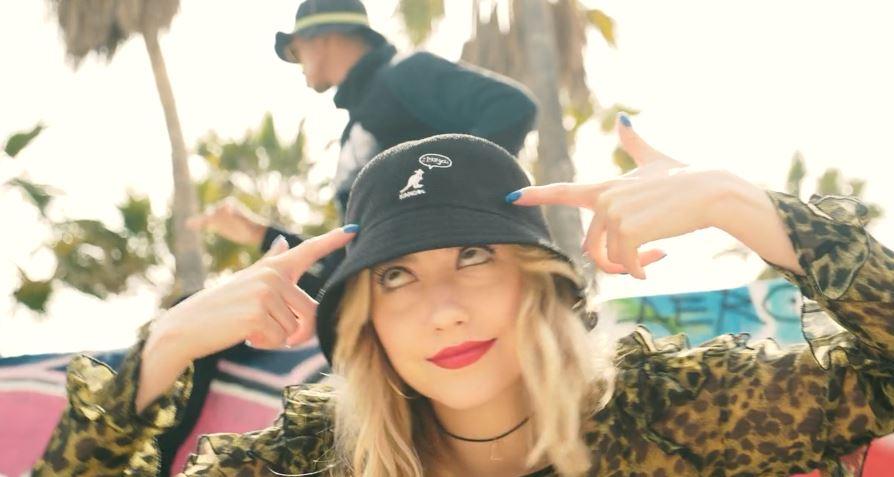 Model wearing a Kangol Bucket Hat